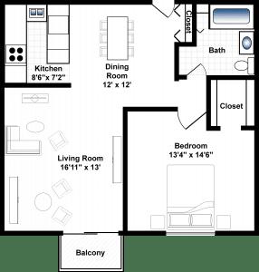 1 Bed / 1 Bath / 750-790 / Rent: $1125-$1,160